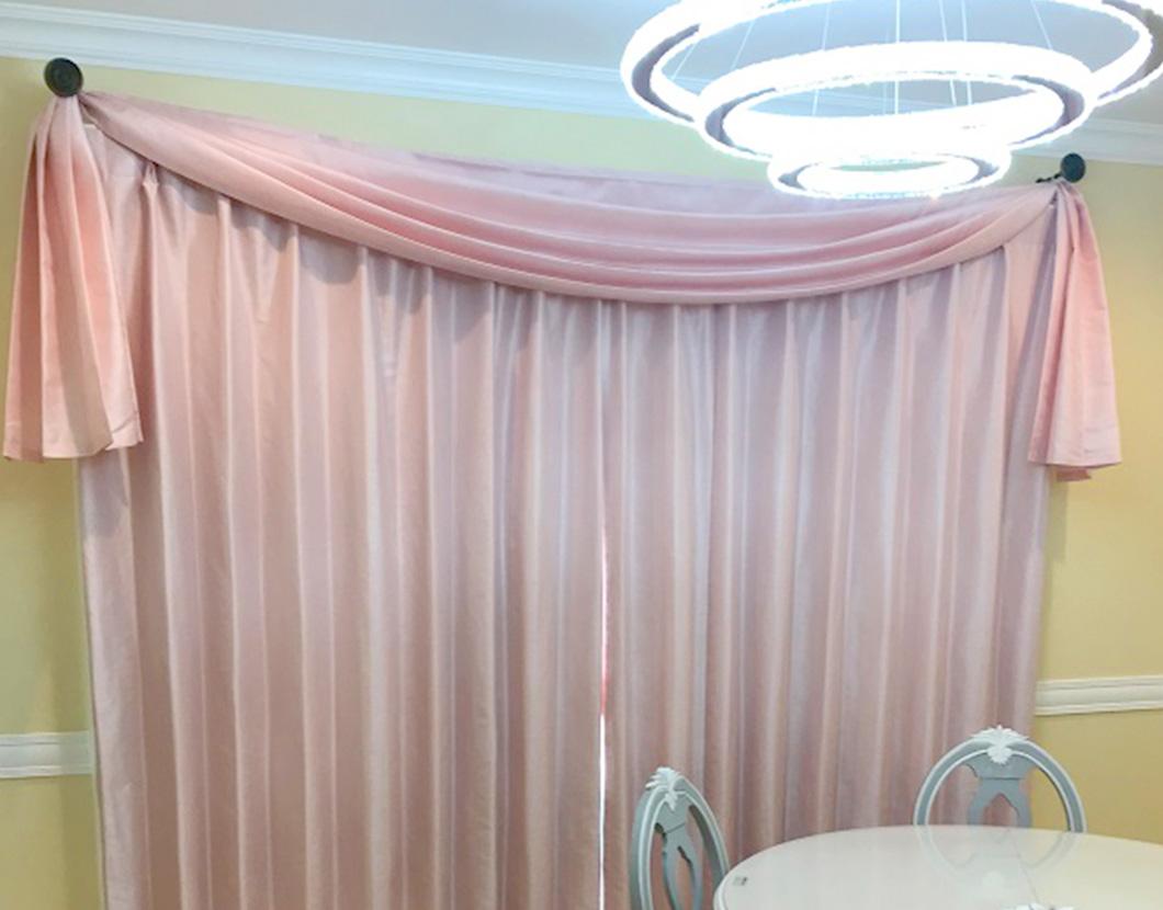 簡易オープンスワッグとドレープカーテン
